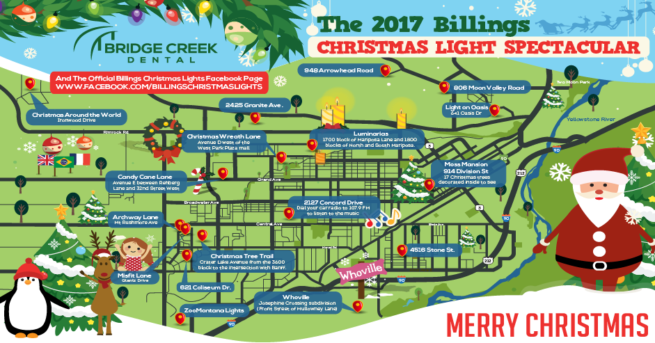 The 2017 Billings MT Christmas Light Spectacular Map Bridge Creek