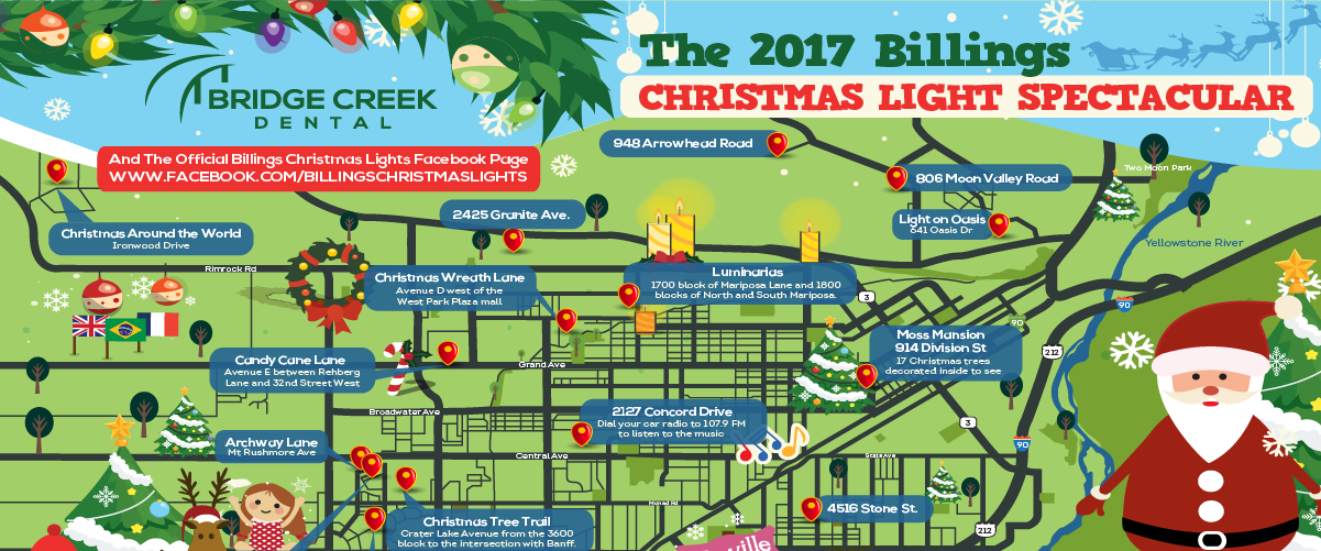 The 2017 Billings, MT Christmas Light Spectacular Map